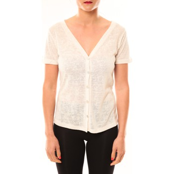 Clothing Women Short-sleeved t-shirts Meisïe Top 50-608SP14 Écru Beige