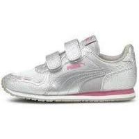 Shoes Children Low top trainers Puma Cabana Racer Glitz V PS Silver