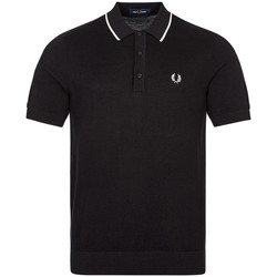Clothing Men Short-sleeved polo shirts Fred Perry Tipped Knitted Polo - Black