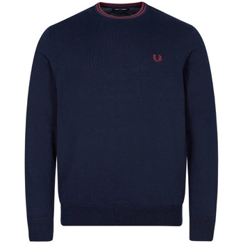 Clothing Men Sweaters Fred Perry Crew Neck Knitted Jumper - Navy/ Aubergine