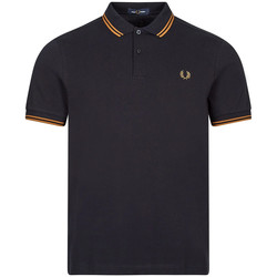 Clothing Men Short-sleeved polo shirts Fred Perry Short Sleeve Twin Tipped Polo - Navy/ Dark Caramel