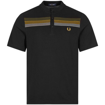 Clothing Men Short-sleeved polo shirts Fred Perry Stripe Henley Shirt - Black