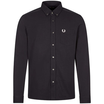 Clothing Men Long-sleeved shirts Fred Perry Long Sleeve Shirt Pique Texture - Navy