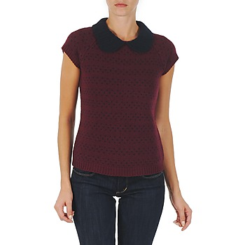 Clothing Women jumpers Manoush TOP CROCHET CŒUR BORDEAUX