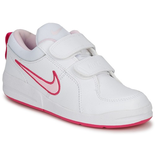 Shoes Girl Low top trainers Nike PICO 4 PSV White / Prism / Pink-spark