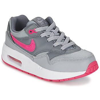 Shoes Girl Low top trainers Nike AIR MAX 1 CADET Grey / Pink