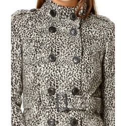 Clothing Women coats Anastasia Grey Funnel Neck Leopard Print Double Breasted Belted Winter Coa grey
