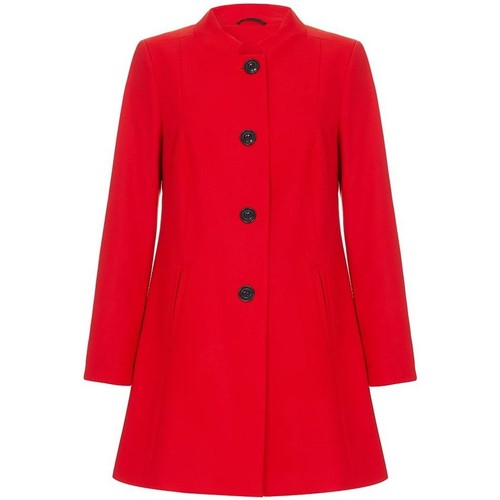Clothing Women coats Anastasia - Red Single Breasted Collarless Winter Coat red