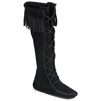 Shoes Women High boots Minnetonka SINGLE FRINGE  BLACK / Suede