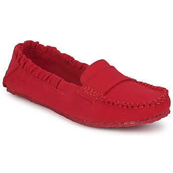 Shoes Women Loafers Mocks CANVAS SADDLE Havana / Red