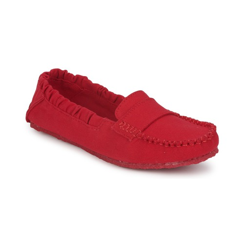 Shoes Women Loafers Mocks CANVAS SADDLE Havana / Red