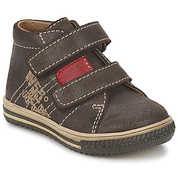 Shoes Boy Hi top trainers Citrouille et Compagnie ESCLO Brown / Red