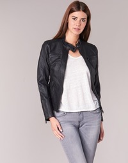 Clothing Women Leather jackets / Imitation leather Moony Mood DESCUNE Black
