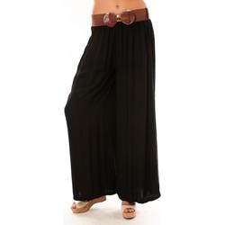 Clothing Women Wide leg / Harem trousers De Fil En Aiguille Pantalon Trionfo noir Black