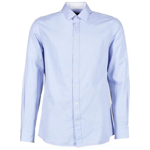 Clothing Men long-sleeved shirts Hackett SQUARE TEXT MUTLI Blue