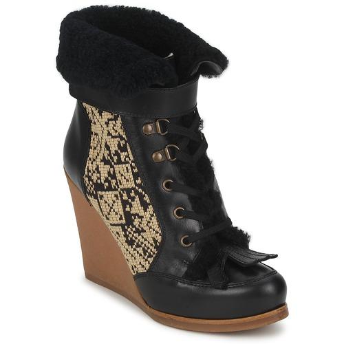 Shoes Women Ankle boots Etro DENISE Black / Beige