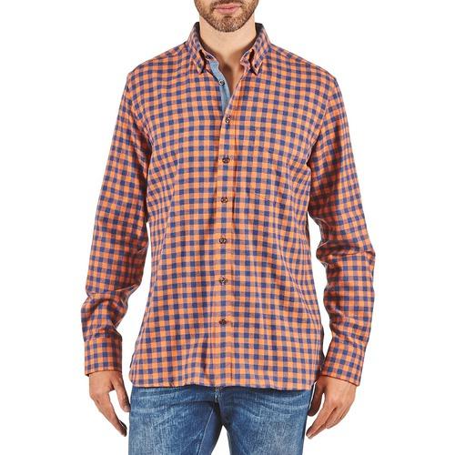 Clothing Men Long-sleeved shirts Hackett SOFT BRIGHT CHECK Orange / Blue