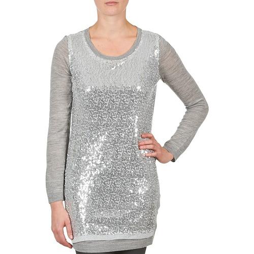 Clothing Women Tunics La City PULL SEQUINS Grey