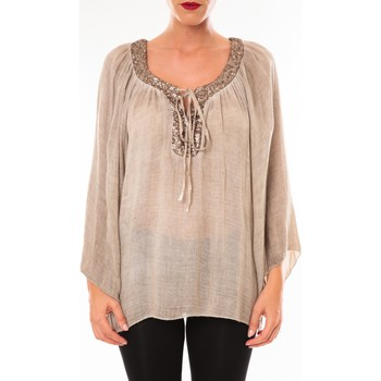 Clothing Women Tops / Blouses Tcqb Tunique TDI paillettes taupe Brown