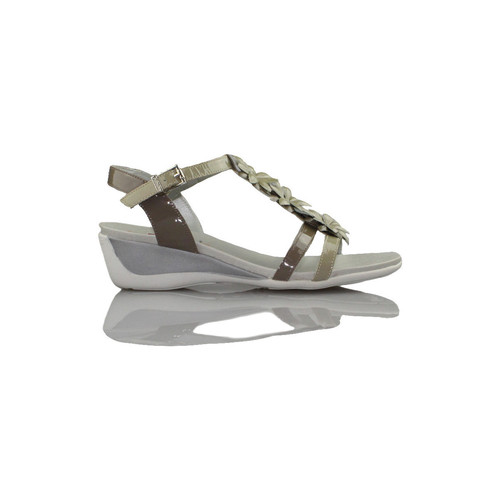 Shoes Women Sandals CallagHan Patent leather sandal flower BEIGE