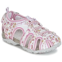 Shoes Girl Outdoor sandals Geox S.ROXANNE C White / Pink