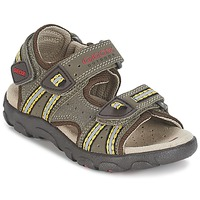 Shoes Boy Outdoor sandals Geox S.STRADA A Brown / Ocre tan