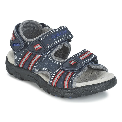 Shoes Girl Outdoor sandals Geox S.STRADA A Marine / Red