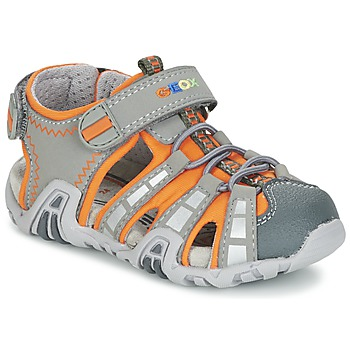Shoes Boy Outdoor sandals Geox SANDAL KRAZE B Grey / Orange