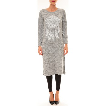 Clothing Women Long Dresses By La Vitrine Robe Plume gris clair Grey