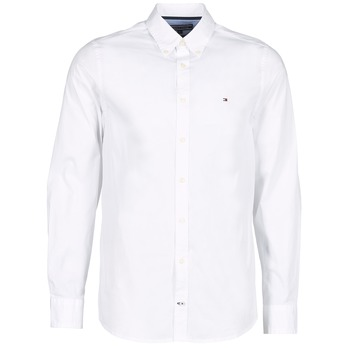 Clothing Men long-sleeved shirts Tommy Hilfiger STRETCH POPLIN White