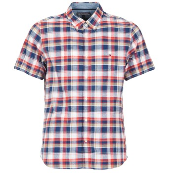 Clothing Men short-sleeved shirts Tommy Hilfiger FRENCH CHK Marine / Red