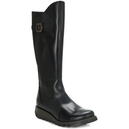 Shoes Women High boots Fly London Womens Black Mol 2 Leather Boots Black