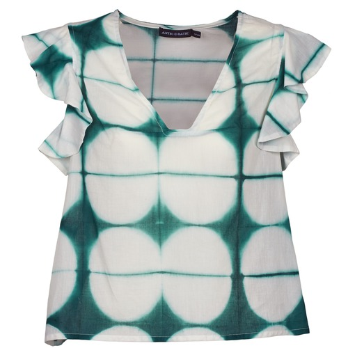 Clothing Women short-sleeved t-shirts Antik Batik BAB White / Green