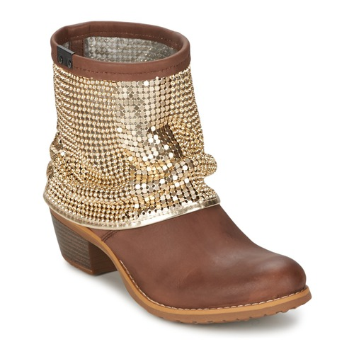 Shoes Women Ankle boots Bunker RIA Strass Taupe / Golden