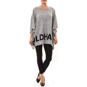 Clothing Women Jumpers De Fil En Aiguille Poncho DH3122 gris Grey