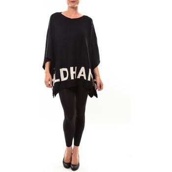 Clothing Women Jumpers De Fil En Aiguille Poncho DH3122 noir Black