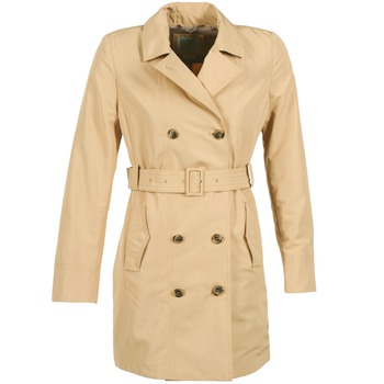 Clothing Women Trench coats Geox LAURA Beige