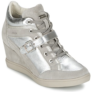 Shoes Women Hi top trainers Geox ELENI C Silver