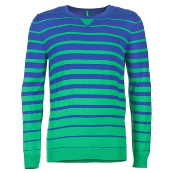 Clothing Men jumpers Benetton FODIME Marine / Green