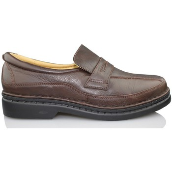 Shoes Men Loafers Calzamedi comfortable leather moccasin BROWN