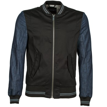 Clothing Men Jackets Sisley 2ID2533A9 Black / Blue