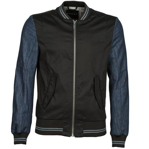 Clothing Men Jackets Sisley 2ID2533A9 Black / Blue