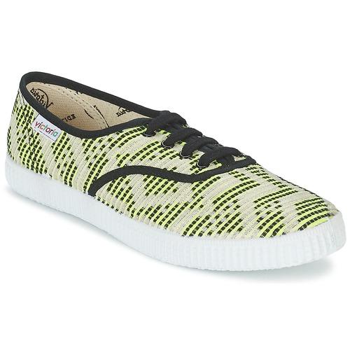 Shoes Women Low top trainers Victoria INGLES GEOMETRICO LUREX Beige / Citron / Black