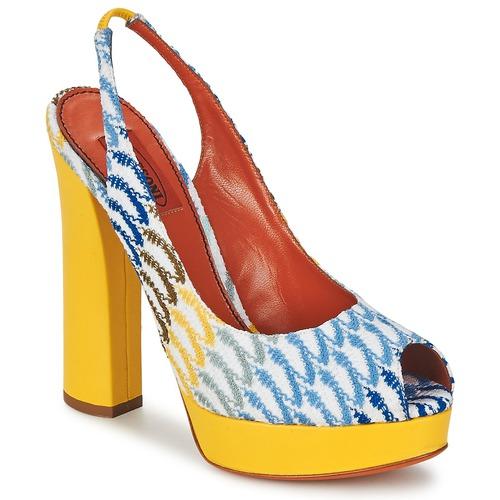 Shoes Women Sandals Missoni XM005 Yellow / Blue