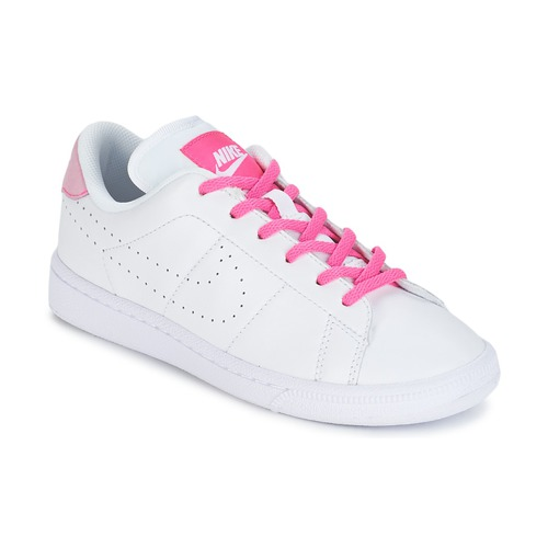 Shoes Girl Low top trainers Nike TENNIS CLASSIC PREMIUM JUNIOR White / Pink