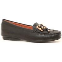 Shoes Women Loafers Ilario Ferucci Mocassins en cuir Lilac noir Black