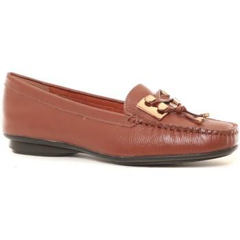 Shoes Women Loafers Cassis Côte d'Azur Ilario Ferucci Mocassins en cuir Lilac cognac Brown