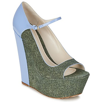 Shoes Women Heels John Galliano S54261 Blue / Green