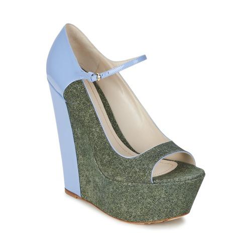 Shoes Women Heels John Galliano S54261 Blue / Green
