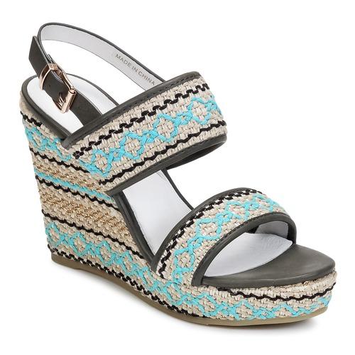 Shoes Women Sandals Café Noir JABALA Carbon / Turquoise